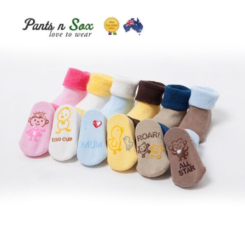 4 Pcs Toddler Unisex Socks Soles Baby Shoes Socks Child Kids Rubber Footwear AU
