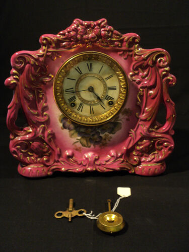 "AMERICAN ANSONIA 'RECREUT"" ROSE PORCELAIN / CHINA CASE SHELF CLOCK, c. 1900"
