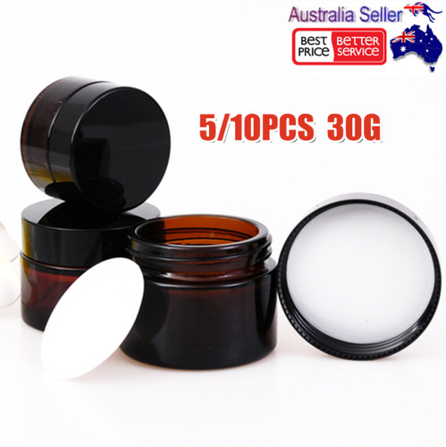 30G Amber Glass Cosmetic Jars Face Cream Homemade Lotion Cosmetic Containers OZ
