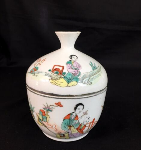 Antique Chinese Porcelain Lidded Famille Rose Bowl Calligraphy, Republic Period