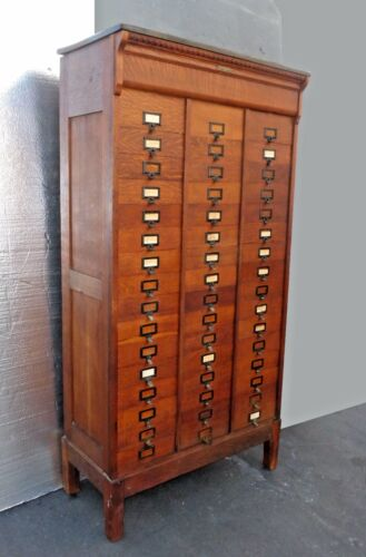Antique AMBERG Patent Filing Oak FILE LETTER CABINET The M.Ohmer's Sons 48Shelfs