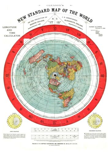 FLAT EARTH MAP : Alexander Gleason  : circa 1892