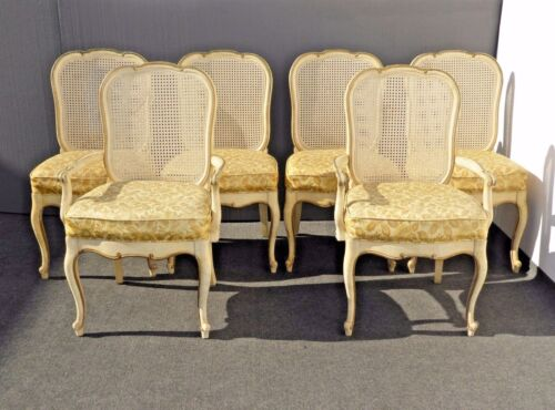 Six Vintage THOMASVILLE French Country Provincial Off White CANE Dining CHAIRS