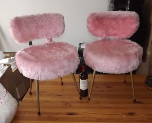Rare Authentic Vintage french Design pair chair 70s pink fur Peltex France