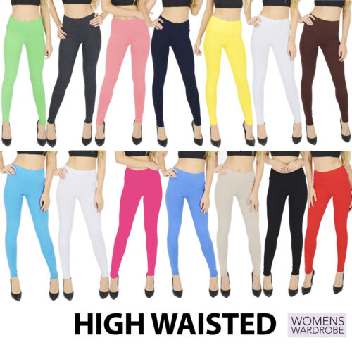 Womens High Waisted Cotton Leggings Full Length NOT SEE THROUGH V1 <br/> Extra Support and Tummy Tuck with the High Waist Band