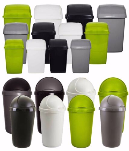 Plastic Flip Top Rectangle Bullet Waste Bin Paper Rubbish Kitchen Swing Bins W/F <br/> High Quality Bins Made In UK 10, 30, 50 Litres 4 Colour