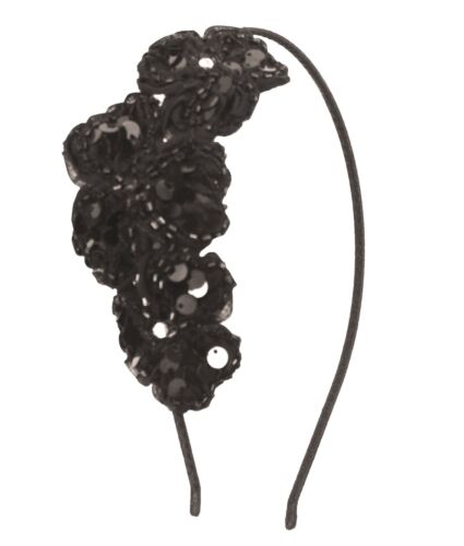 BE07125 flora fabric and silver sequence embroidery hair band - Black