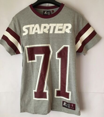 AUTHENTIC STARTER- printed tee grey heather/burgundy Size S Free P&P