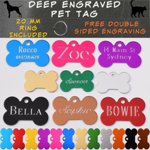 Pet ID Name Tag Tags Deep Engraved Dog Cat Bone Customised and Personalised <br/> Traditional Deep Engraved, Free Post and Split Ring