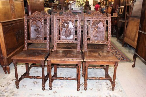 Beautiful Set Of 6 French Antique Oak Brittany Carved Chairs.