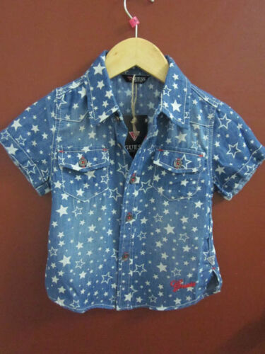 NEW Kids Boys Guess Star Print Washed Denim Short Sleeve Shirt Top 5/6