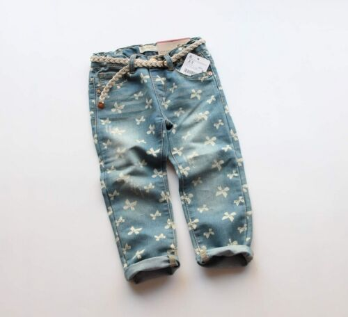 NEW Kids Girls Washed Denim Bow Print Jeans Pants with Belt size 3-4. 7-8 left!