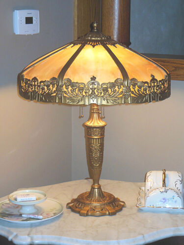 ANTIQUE PITTSBURGH SLAG GLASS LAMP - DOUBLE SIGNED