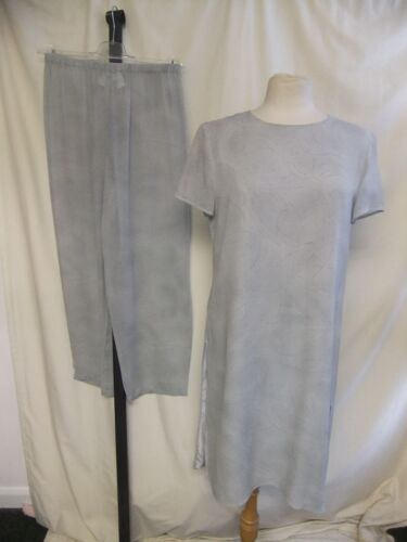 Ladies Outfit Long Tunic & Trousers MAX MARA, UK 12, pale grey silk, lined 2060