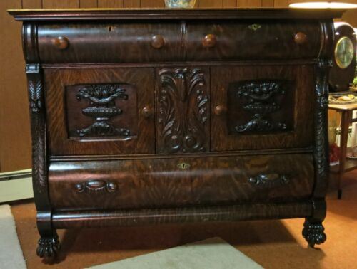 Antique Victorian Quarter Sawn Tiger Oak Sideboard Buffet