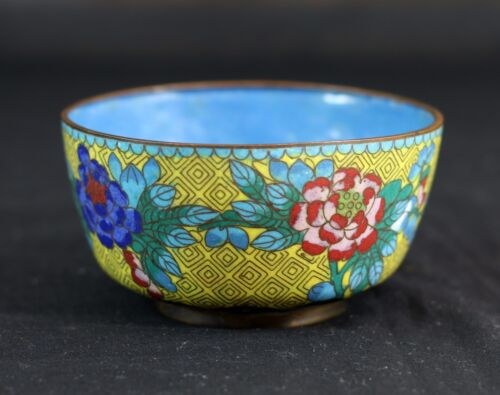 """Antique Chinese Yellow Cloisonne Floral Flower Bowl ,4-3/8""""D Late Qing/ Republic"""