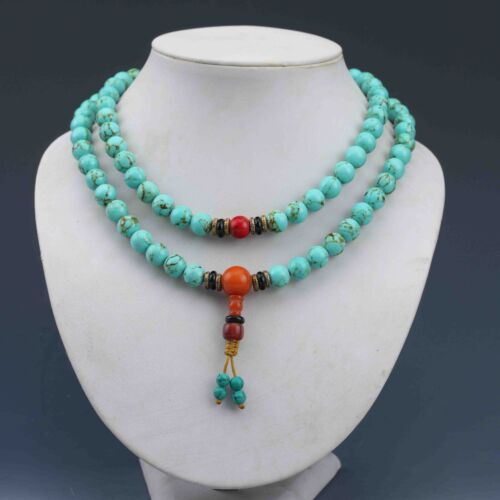 EXQUISITE CHINESE TURQUOISE HAND WOVEN NECKLACE .