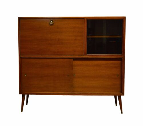 M Singer & Sons Mid Century Modern Walnut Liquor Cabinet Bar Drinks