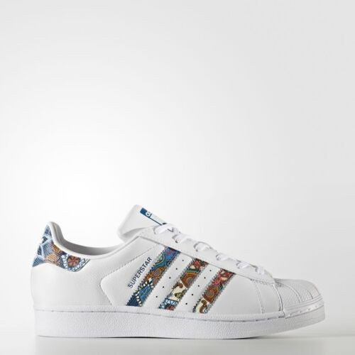 NEW ADIDAS WOMEN'S ORIGINALS SUPERSTAR SHOES [BY9177]  WHITE//MULTI-COLOR