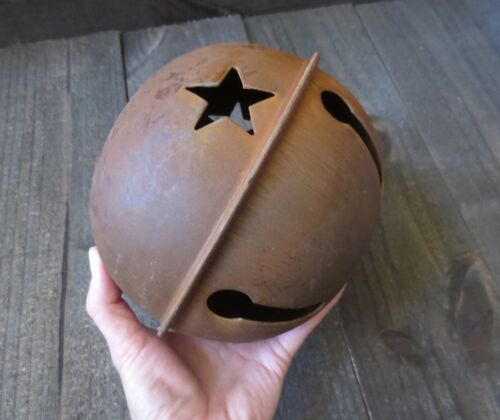 Huge 7 inch Rusty Jingle Bell Primitive Decor Large Rustic Country Star Cutout