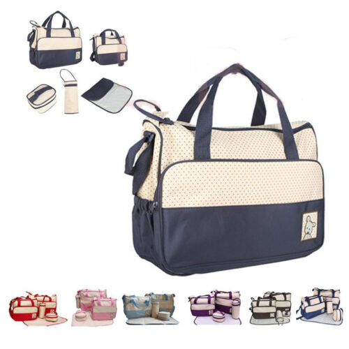 5pcs Baby Changing Diaper Nappy Bag Mummy Mother Handbag multifunctional set