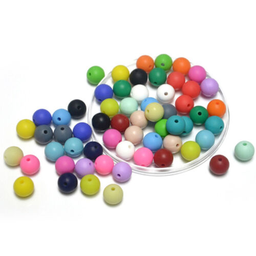 Safely Small Round Silicone Teething Beads DIY Baby Chewable Jewelry Making 9mm