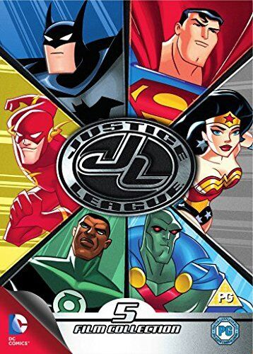 """JUSTICE LEAGUE 5 FILM COLLECTION DC COMICS 5 DISC DVD BOX SET R4 """"NEW&SEALED"""""""