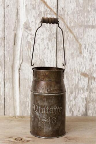 """Set of 2 Country """"1843 Vintage"""" Small Metal Decorative Milk Can with Handle."""