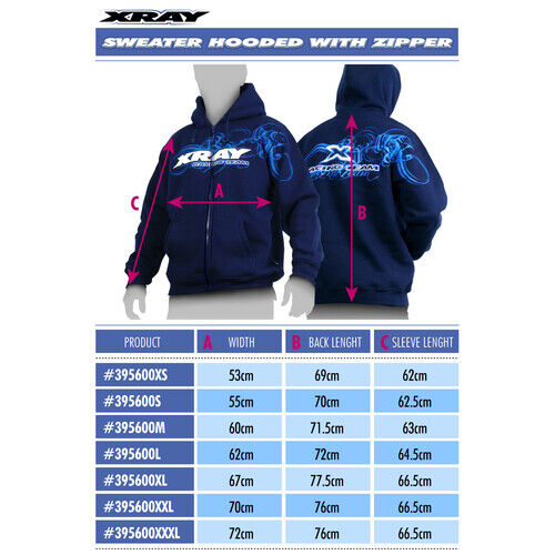 XRAY SWEATER HOODED WITH ZIPPER - BLUE (XL) - XY395600XL