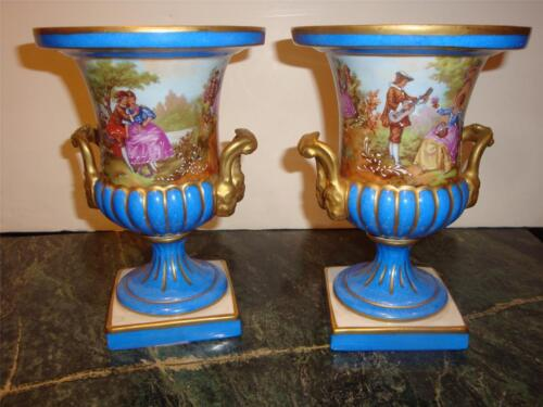 MAGNIFICENT PR SIGNED SEVRES PORCELAIN BLUE PORTRAIT FRAGONARD VASES C 1920'S!!!