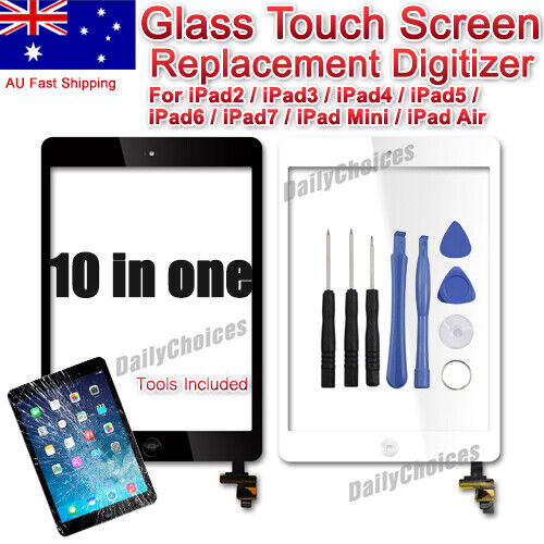 For iPad 2 3 4 Air1 Mini Front Screen Glass Replacement Digitizer Cable+Home