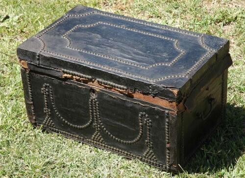 Antique Australian Colonial Brass Tack Decorated Hide Covered Trunk Box Chest