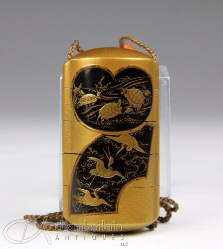FINE ANTIQUE JAPANESE FIVE SECTION LACQUER INRO SIGNED