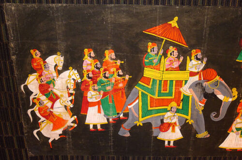 VINTAGE INDIA STORY WEDDING TAPESTRY PAINTING HUGE 9 FT LONG 1970s WALL HANGING