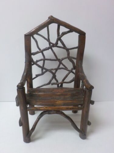 """Vintage Hand Crafted 14.5"""" Doll's Country / Primitive TWIG Chair (#1)"""