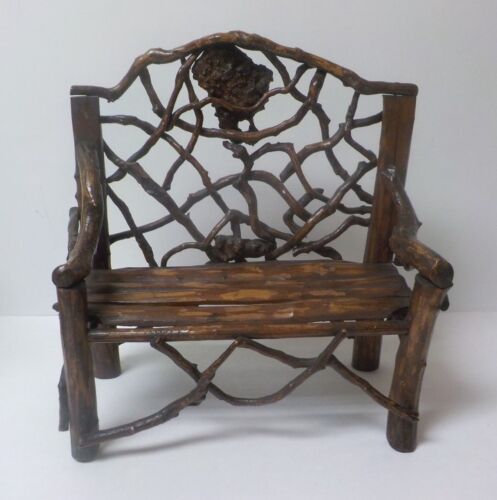 """Vintage Hand Crafted 13.5"""" Doll's Country / Primitive TWIG Settee (#2)"""
