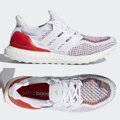 adidas Ultra Boost 2.0 Multicolor Rainbow Running Shoes White Red BB3911 VNDS
