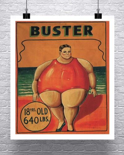 Buster 640 LBS. Vintage Freak Show Poster Cotton Canvas Giclee Print 24x28 in.