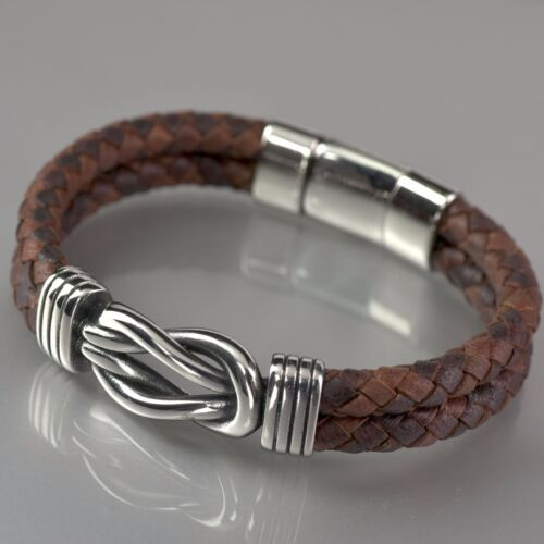 Silver rope chain brown chocolate hand weave leather bangle bracelet M