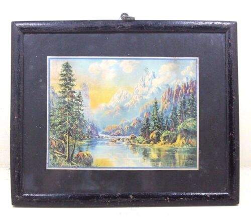 Vintage Beautiful Landscape Scene Litho Painting Print with Old Frame #344