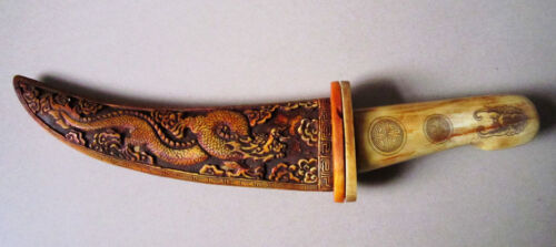 Rare old Chinese bone SWORD Painting dragon Knife 02