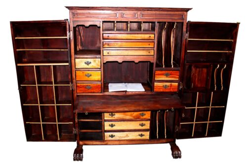 Wooton Style Aesthetic Movement Walnut Cabinet Secretary Desk, circa 1884