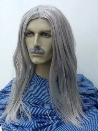 Grey Long Straight Fancy Dress Wig & Self Adhesive Moustache. Uk Next Day Disp