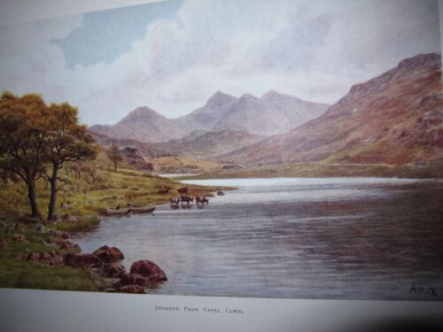 Vtg J. Salmon English art print, Snowden From Capel Curig. by Quinton, 14 x 11