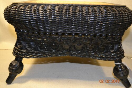 Antique Footstool Rare Wicker Stick & Ball Cane Seat  Excellent      #801112