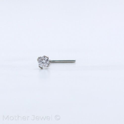22G 2MM SIMULATED DIAMOND SILVER SURGICAL STEEL L SHAPED BENT NOSE PIERCING STUD