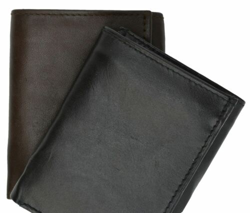 New Mens Trifold Grain Leather Wallet Billfold Credit Card Window ID License A