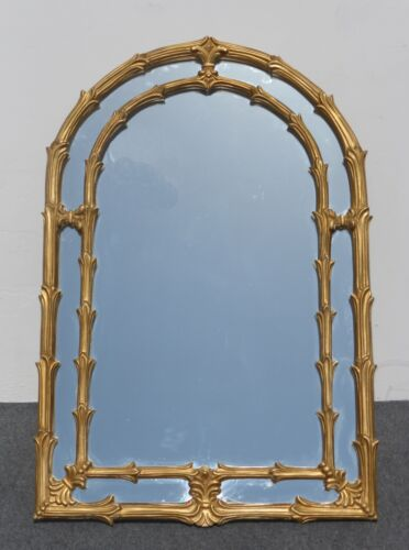 "Tall 58""HIGH  x 34 Unique Vintage WALL MANTLE MIRROR  Gold Painted Floral Design"
