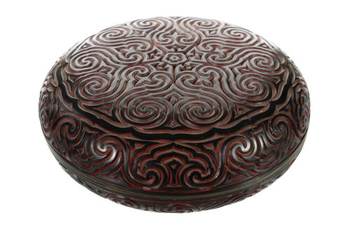 Antique Chinese Circular Cinnabar Box -Beautiful Carved Lacquer box