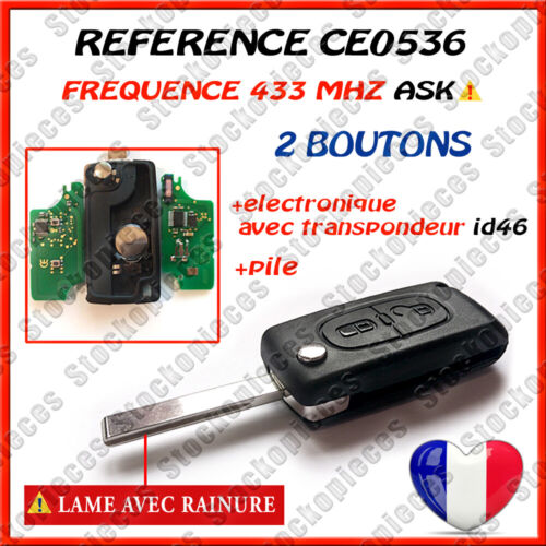 CLE VIERGE CE0536 ID46 COMPATIBLE 207 307 307 SW  308 308 SW 2 BOUTONS  ASK <br/> COMPATIBLE  CE0536  FREQUENCE ASK  HU83